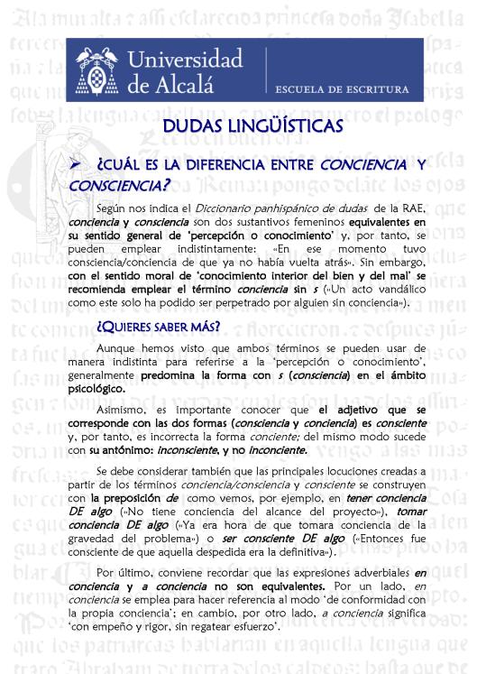 6. Conciencia y consciencia. Blog