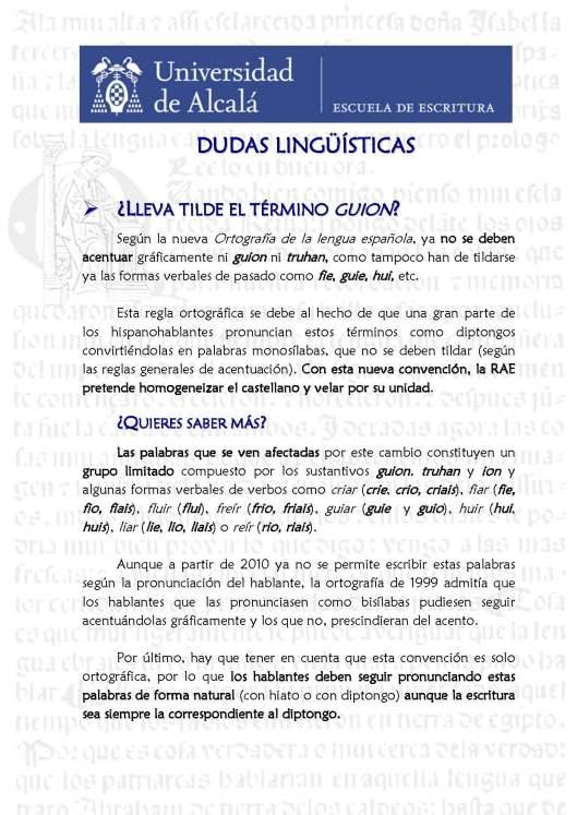 9. Monosílabos con diptongo sin tilde (guion). Blog